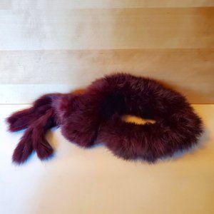 Rabbit Fur Red Burgundy Wrap Neck Wrap Collar Scarf